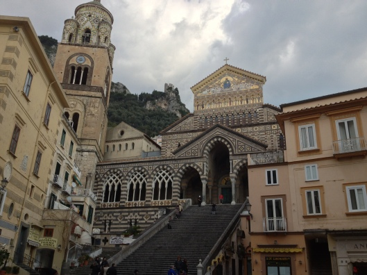 Amalfi  has the glamour of the once glorious maritime Republic, the Duomo di St Andrea was founded in the 9th century and rebuilt in Romanesque style in the 11th century.  The campanile is is decorated with Arabic like interlaced arches, typical of the Southern Italian