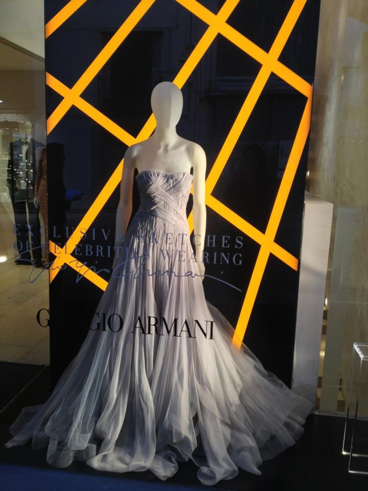 The Georgio Armani store in Chiaia showing some of the fantastic designs by Armani for the red carpet.