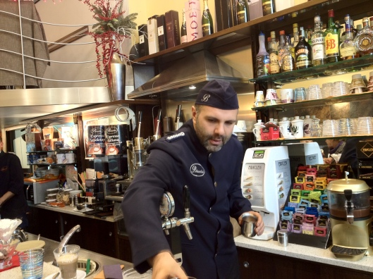 Café Biandini , as you can see most coffee shops in Italy sell more than coffee,  they are also a bar, a bakery and most of them offer a lunch menu and aperitif buffet from 5 pm.  I love the elegant uniforms their trained baristas wear.