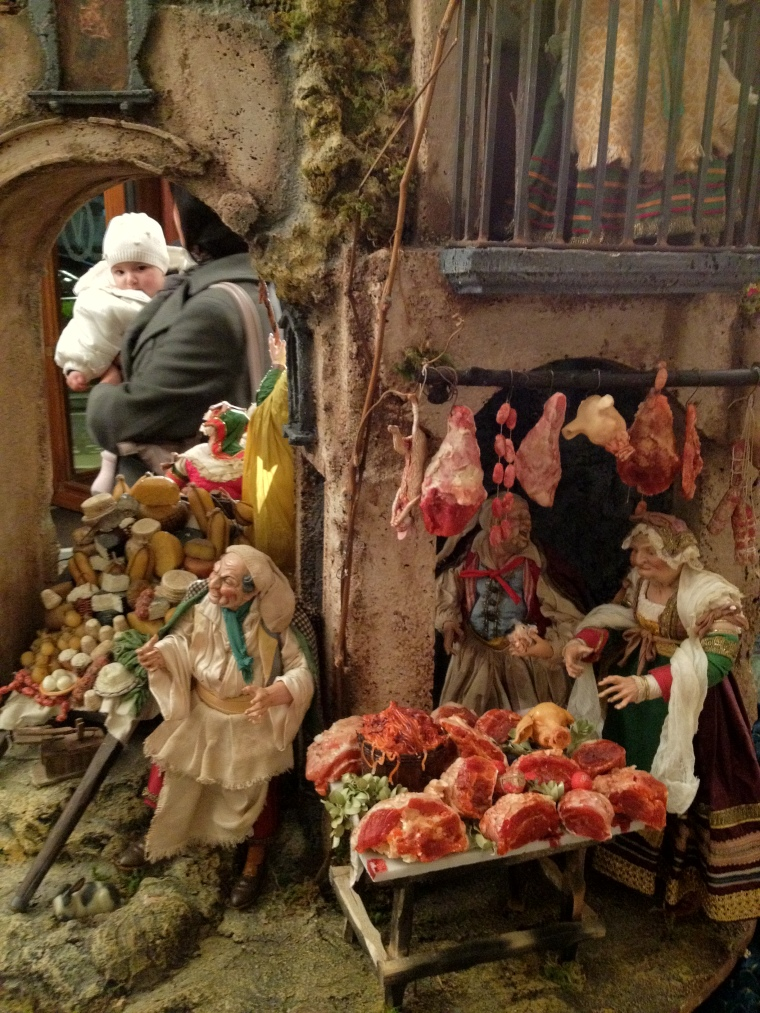 "Another scene of the Nativity I found on display at The Grand Hotel Vesuvio in Naples during the presentation of the ""Duemilla Vini"" guide to the wines in Italy.  Note the attention to the details and how simple acts of life take active part in the Presepe Napoletano"