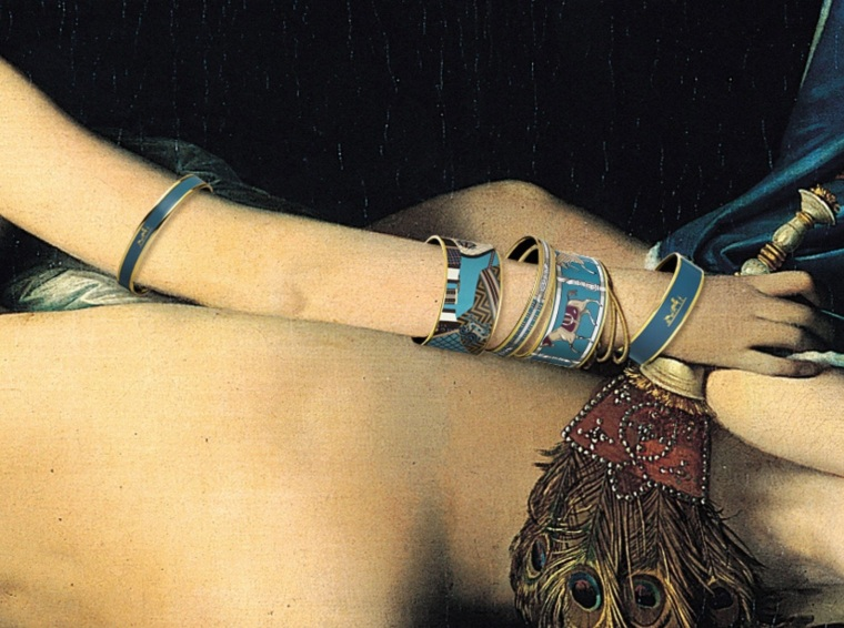 Enamel bracelets House of Hermes artistic vision.  Detail from the Great Odalisque by Ingress, 1814.