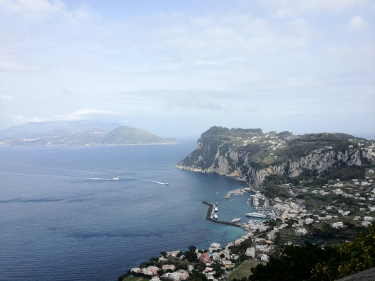 The first evidence of humans, tools, weapons and pottery were found in Anacapri, the village above Capri, early Greek colonists called Teleboians who arrived in the 8th century B.C,  (Pictured here a view from Villa San Michelle)
