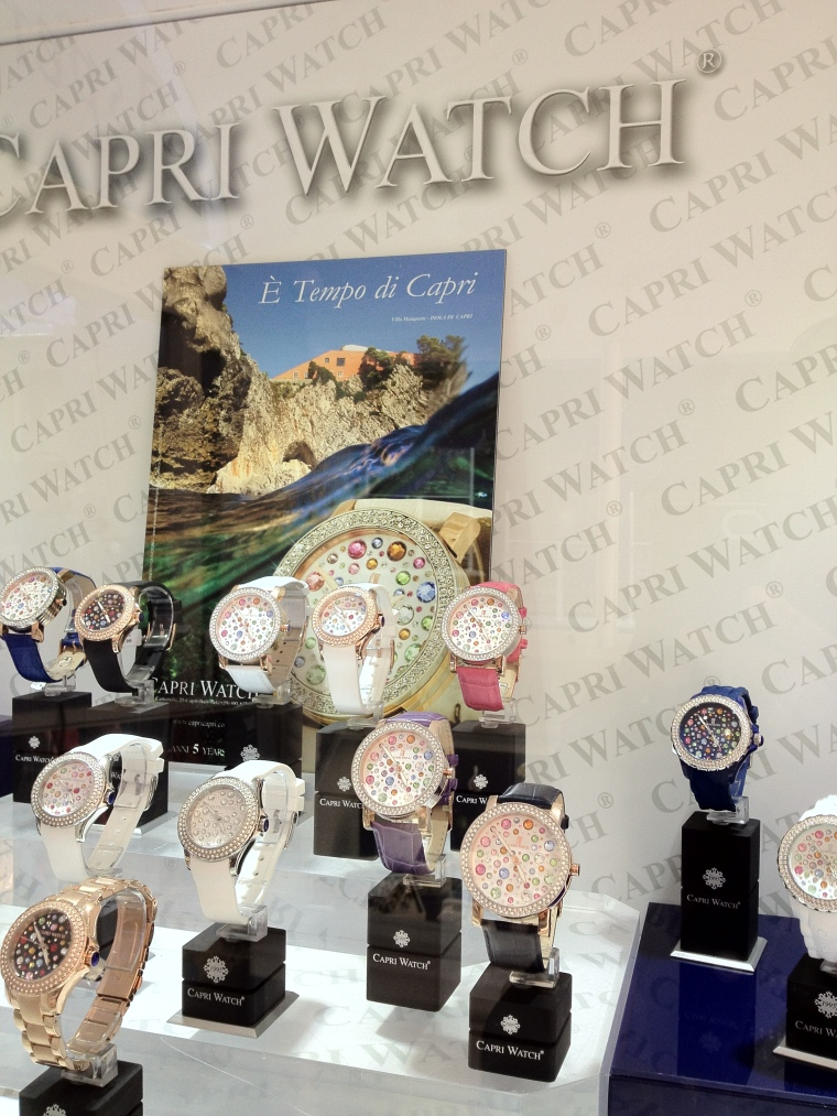 A more recent addition to Capri's fashion: The Capri watch, has the emblematic clock of the Piazzetta.