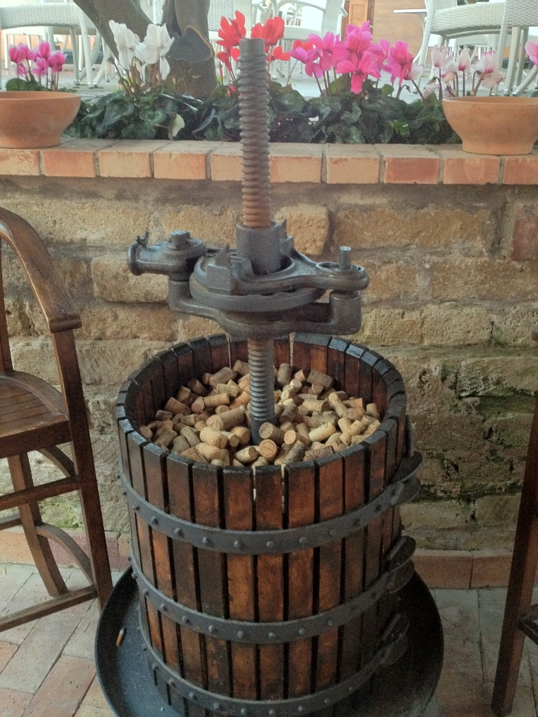 An old press at Villa Eubea, was still used here for years to get the last drops of juice from the local grapes.