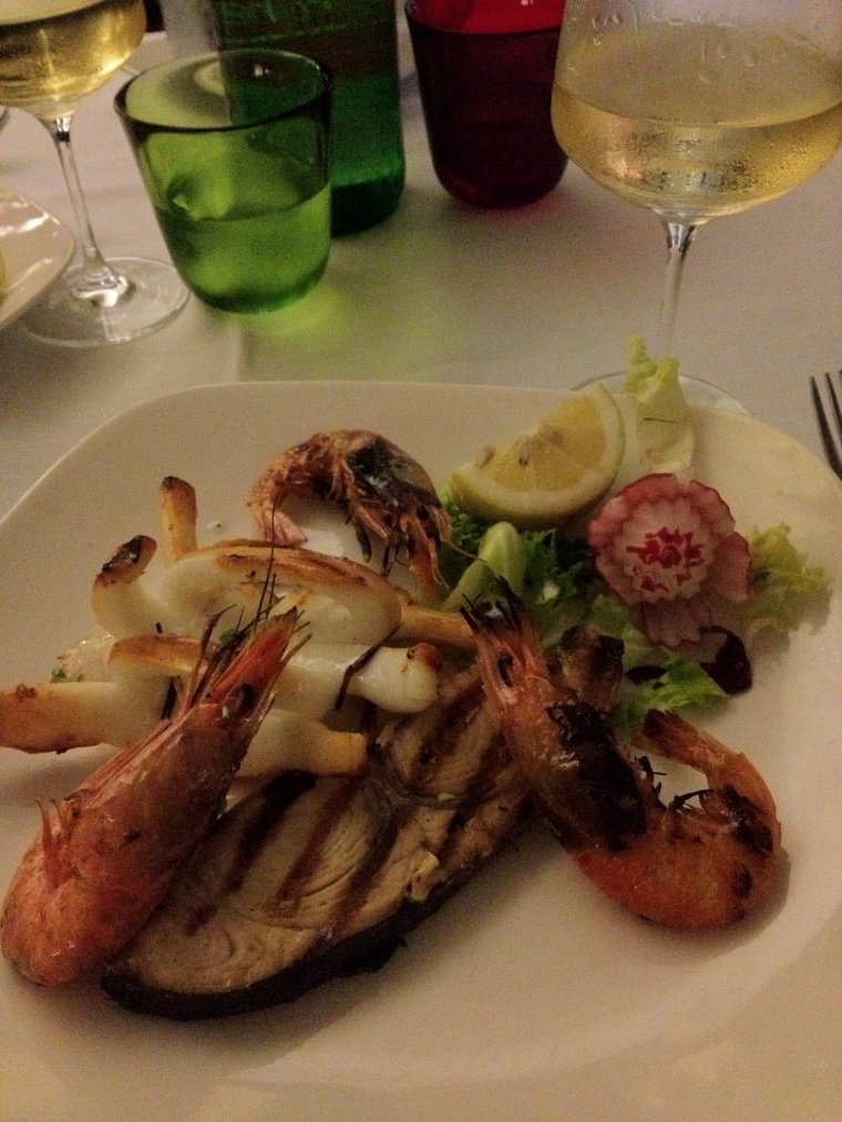 Grilled seafood and fish paired with organic grown veggies paired with Falanghina of the Phlegraean fields DOC.