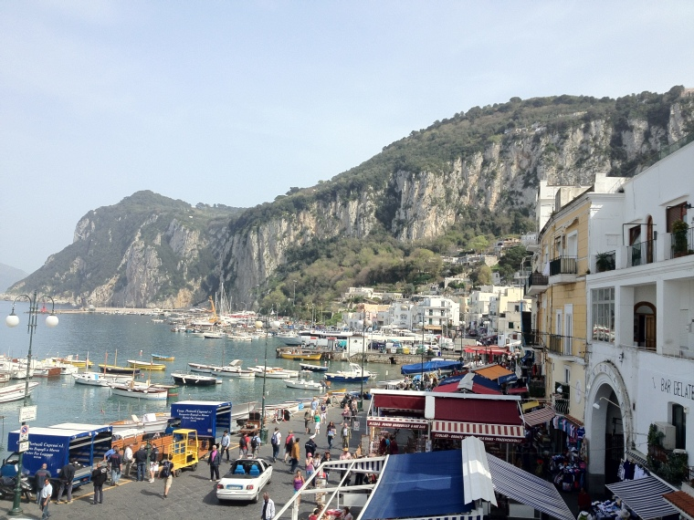 Arriving to Marina Grande.  Capri is about 4 square miles, easy to explore.  Being there gives you a sensation of being apart from the world, because cars are prohibited in such a small island, you need to walk everywhere.