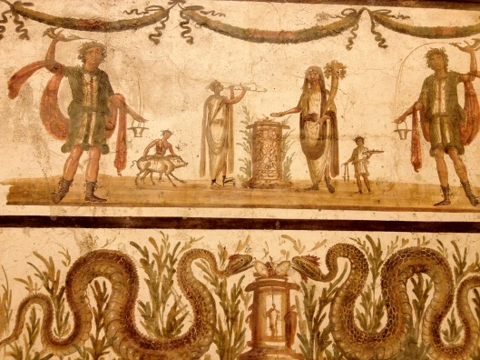 The Wine Offering.  Fresco found in Pompeii (Sec. VII BC)   Many of these well preserved frescoes can be seen at the Archeological Museum of Naples (Museo Archeologico Nazionale)