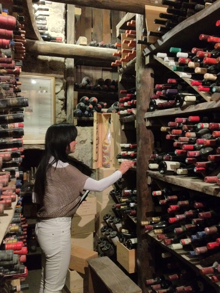 Exploring the cellar located in the basement of the  Tower of Saracino.  As a sommelier this was such an amazing experience.