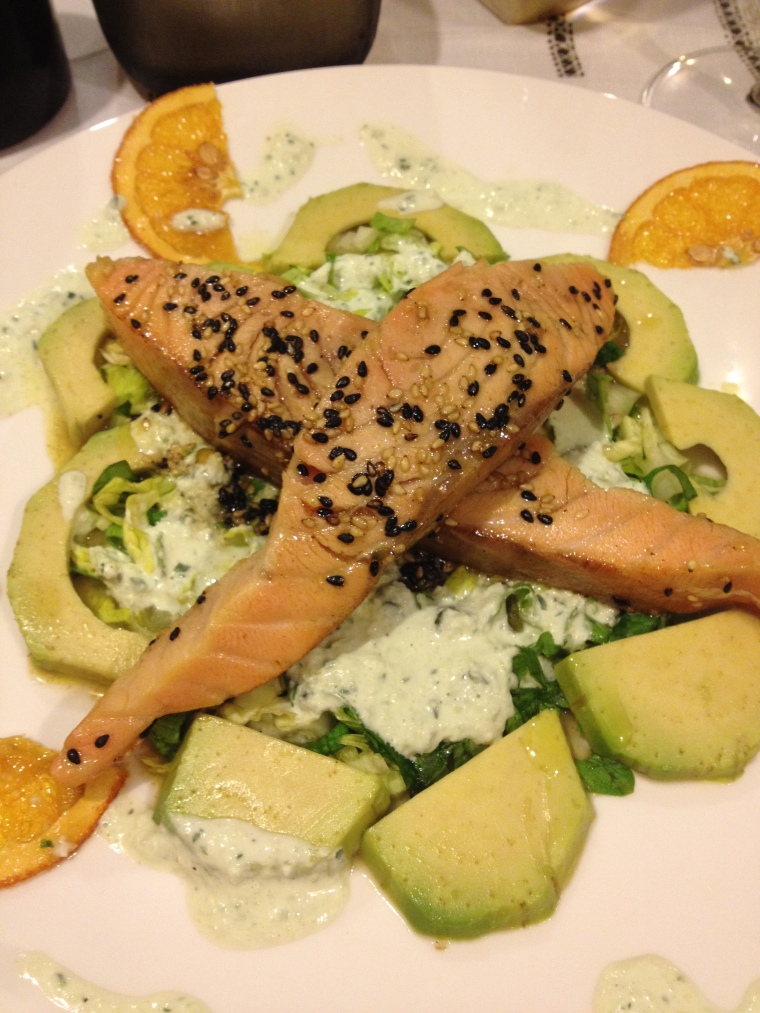Grilled salmon with avocado sauce, the fusion of Asian and Mediterranean cuisine.