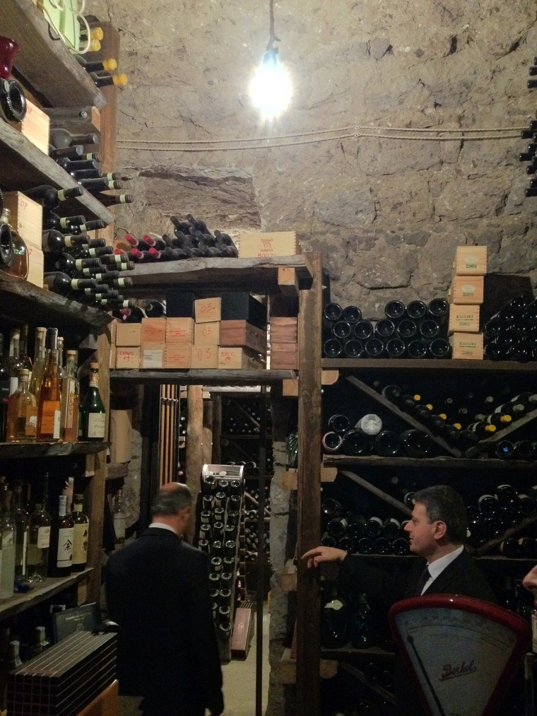 The Master Sommelier guiding me around the cellar of the Saracen Tower.