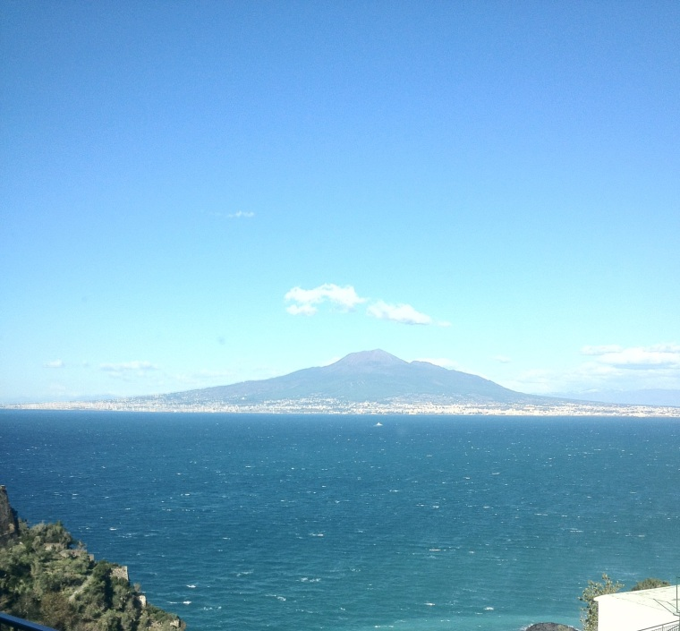 The turquoise waters of the Gulf of Sorrento with the majestic Vesuvius.