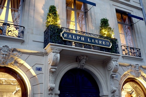 Detail of the flagship store at the Parisian Latin Quarter with the style of Ralph Lauren.