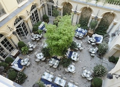 In the courtyard of Ralph's The Restaurant, he opted for a French wine list selection instead of our American wine list, an act of diplomacy.