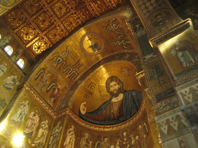 Detail of 12-13th century mosaic of Christ Pantocrator at the Monreale Cathedral