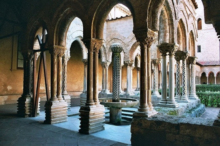 The Cathedral of Monreale is the pinnacle achievement of Arab-Norman art.  Founded in 1172 by William II.  A Benedictine Monastery was built next to it.