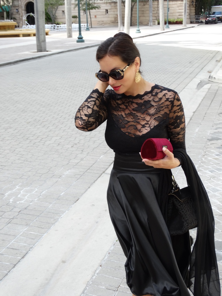 Montserrat Franco wearing Dolce & Gabbana sunglasses, bag and dress from the Sicilian Baroque collection