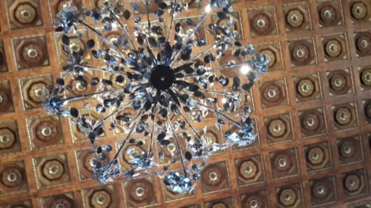Detail of the roof and chandelier Inside the majestic main lobby of the Freedom Tower