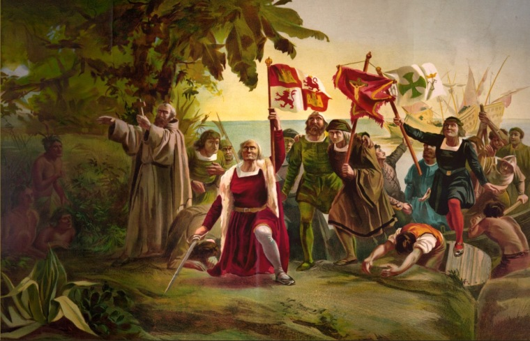 The discovery of St Barthelemy.  Columbus gave to the Island the name of his brother Bartolomeo.